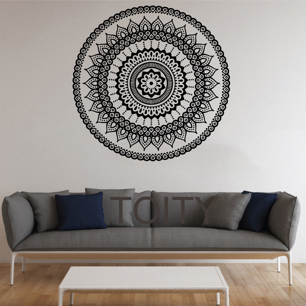 Mandala Wall Stickers Indian Round Pattern Symbol Vinyl Decal Namaste Yoga Art Decor Home Office GYM Dorm Club Dining Room Mural(China (Mainland))