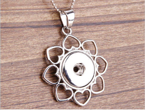 10pcs/lot fashion silver plated round flower rhinestone snap necklace pendant jewelry ginger snap charm button pendant Free ship