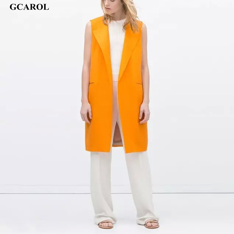 Women Turn-Down Collar Vest Open Stitch Yellow Long Waistcoat Fashion OL Office For Summer Spring Autumn 2015Одежда и ак�е��уары<br><br><br>Aliexpress