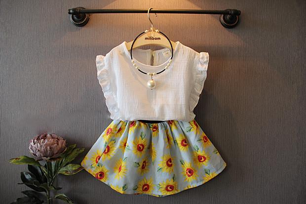 Summer Baby Girl Clothes Agaric fold edge sleeve T shirt