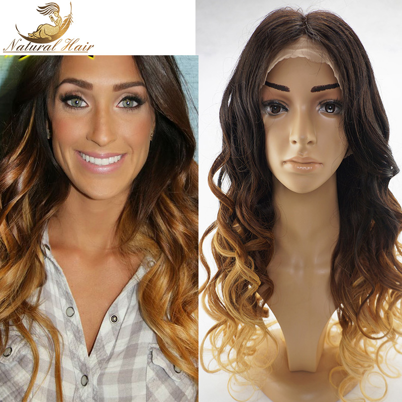 Top Sale full lace blonde ombre wig human hair lace front wig body wave two tone blonde full lace wig with baby hair(China (Mainland))