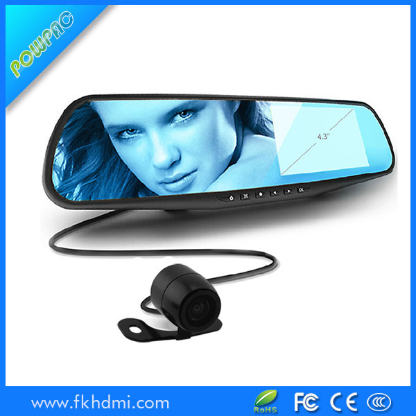 The new high-definition night vision tachograph ultra wide-angle rearview mirror 4.3 inch mini anti-glare blue screen recorder(China (Mainland))