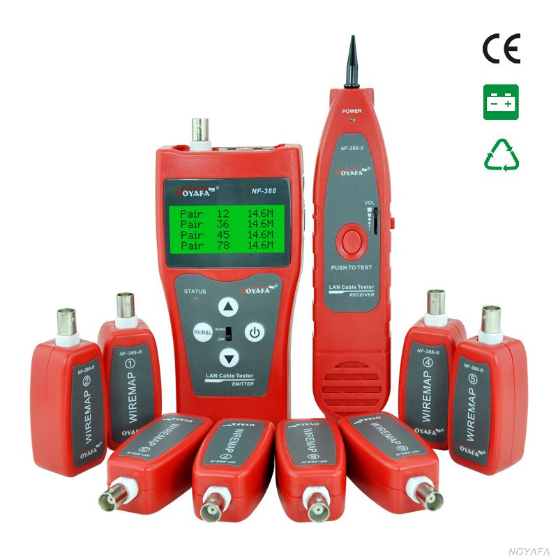 NF-388 Multi-functional Network cable tester Cable tracker RJ45 cable tester with 8 Remote Identifier English Interface NF388(China (Mainland))