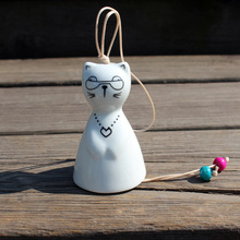 Free Shipping (10 pcs/lot)Japan Style Doctor Cat Wind Chime Lovely Sunny Doll Handmade Ceramic Crafts Home Decoration Kids Gifts