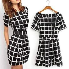 Sexy Women's Short Sleeve Bodycon Short Sleeved Plaid Party Bud Mini Dress(China (Mainland))