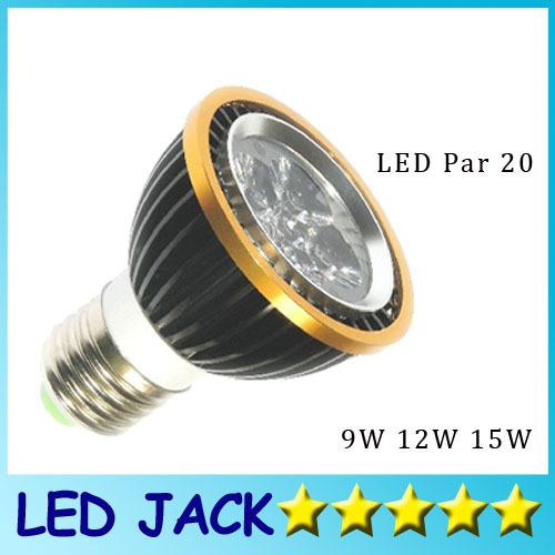 Free shipping High power Led PAR20 Lamp Dimmable E27 GU10 9W 12W 15W 110-240V Led spot bulb Spotlight PAR 20 downlight lighting(China (Mainland))