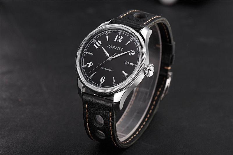 Новый 42 мм Parnis Сапфир Черный Циферблат Япония Автоматический Механизм Мужские Наручные Часы бесплатная доставка