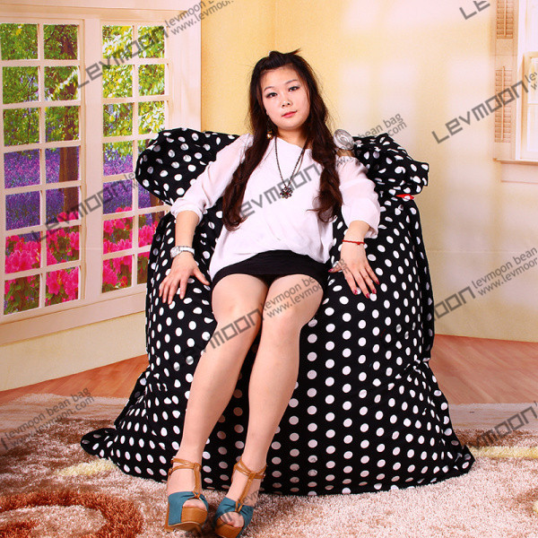 FREE SHIPPING 140*180CM black color white dot bean bag chair 100% cotton bean bag sofa(China (Mainland))