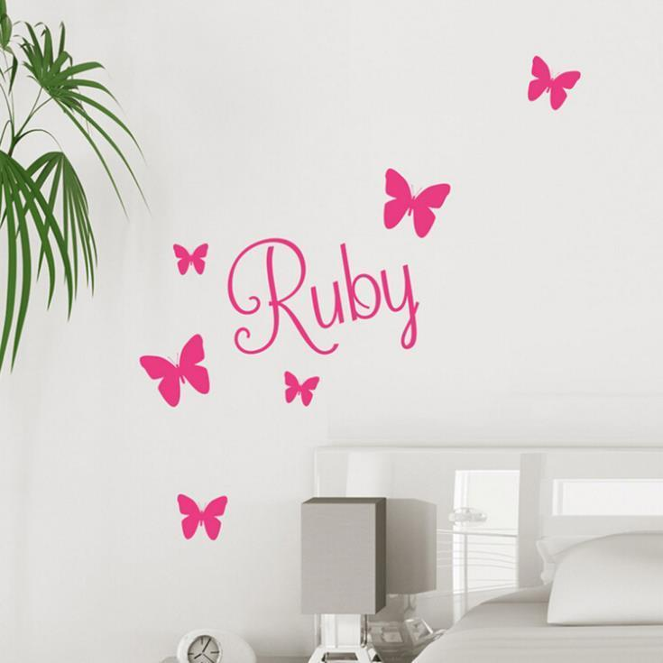 New 2015 hot sale Fashion Butterfly Wall Art Girls Bedroom Vinyl Kids Wall Sticker Home Decorative Accessories Drop shipping(China (Mainland))