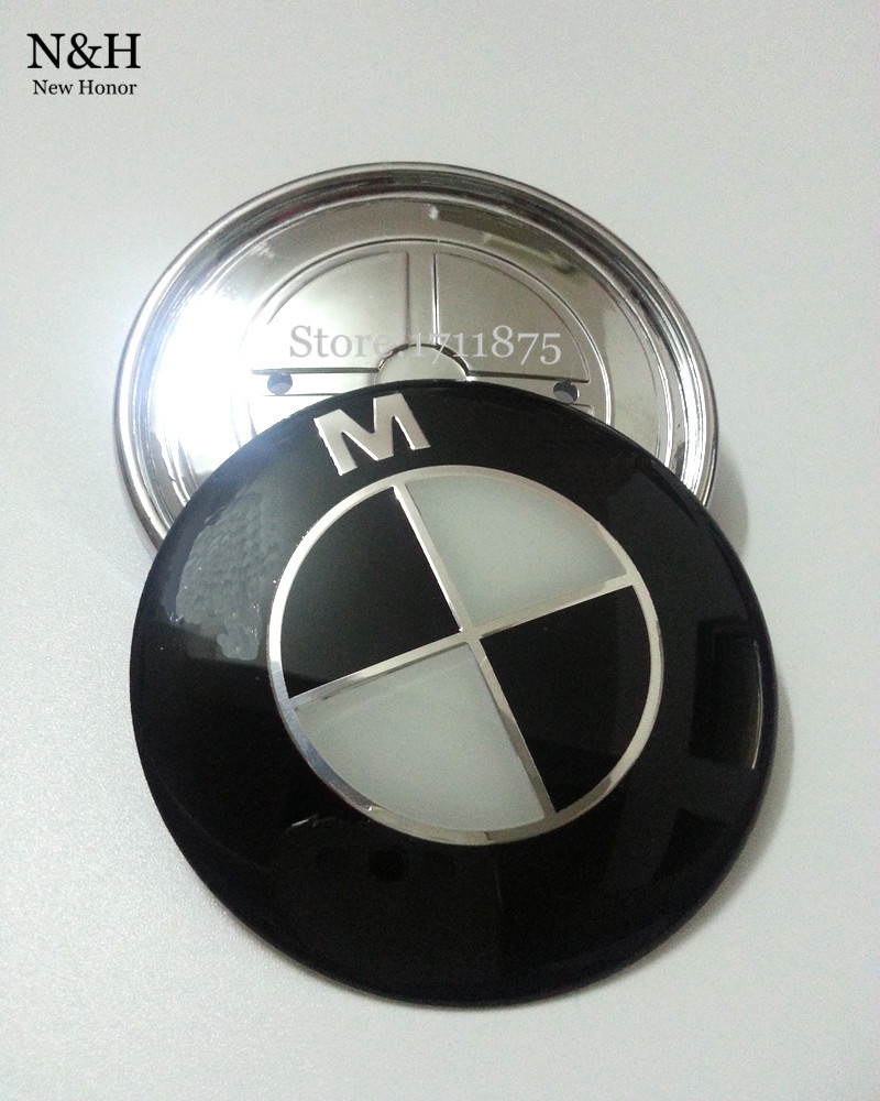 New High Quality Black & White 74mm Sticker Emblem Badge Hood Front Rear Trunk Logo emblems For BMW Car Auto(China (Mainland))
