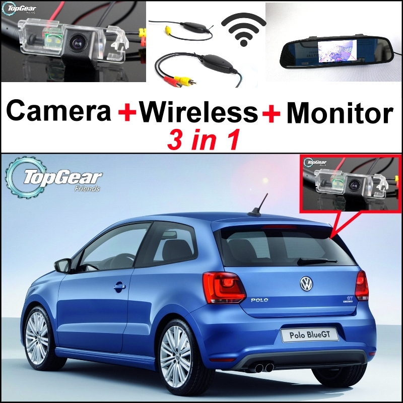 3 in1 Special Rear View Camera + Wireless Receiver + Mirror Monitor DIY Back Up Parking System For Volkswagen VW Polo GTi Derby(China (Mainland))