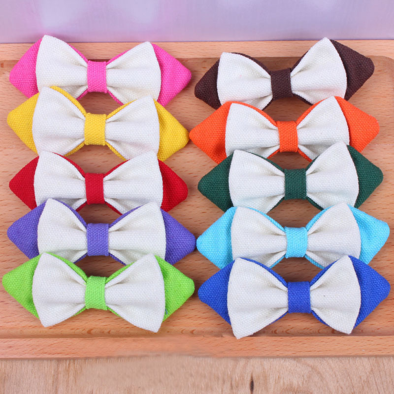 2016 Multi-color Fashion New Children Korean Bow Tie Canvas Candy-colored Boy Cute Party Decoration Pin Tie Cotton(China (Mainland))