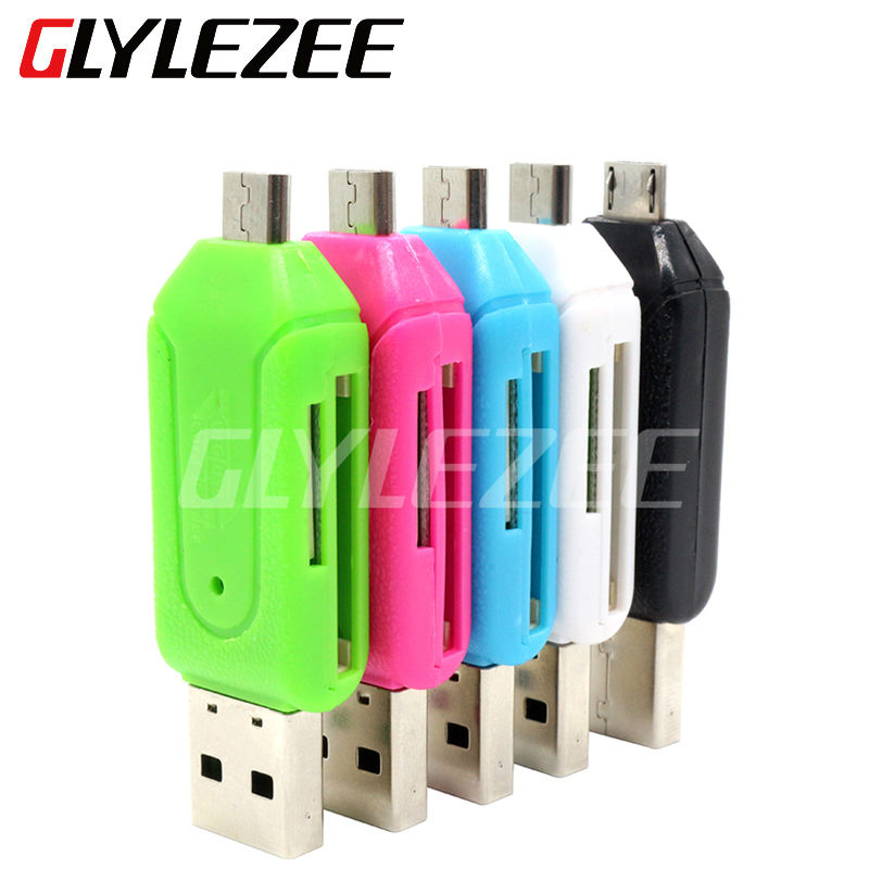 Glylezee 2 in 1 USB OTG Card Reader Universal Micro USB OTG TF/SD Card Reader Phone Extension Headers Micro USB OTG Adapter(China (Mainland))
