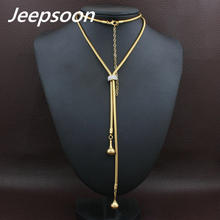 Buy Fashion Stainless Steel Jewelry Woman Simulated Pear Long Chain Necklace High Rhinestone Jeepsoon NEIGAEBJ for $4.33 in AliExpress store