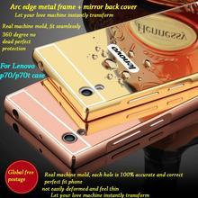 For lenovo P70 case ultra-thin Aluminum Metal Frame+mirror Protective Back Cover  for Lenovo Vibe P70/P70-T  mobile phone bag