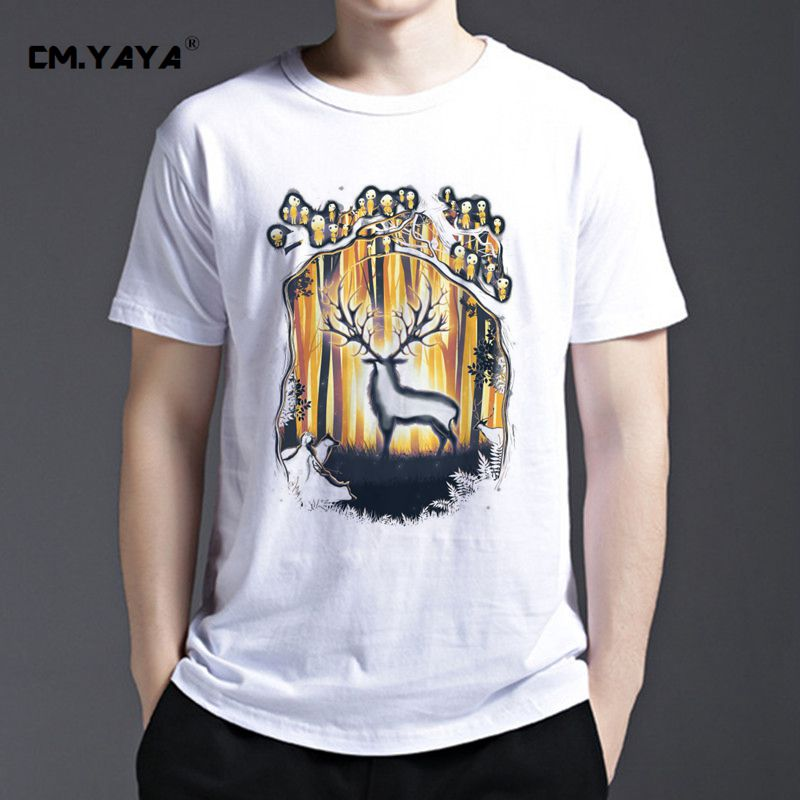 2016 Fashion Men DEER GOD PLEASE SAVE OUR FOREST Printed T-Shirt Short Sleeve O-Neck Harajuku T shirt Funny Homme White Tee Tops(China (Mainland))