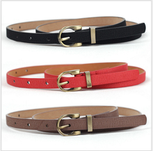 2015 New Famale Faux leather+Pigskin leather belt women Slender Wild waistband Strap for lady Alloy Metal Pin buckle All-match