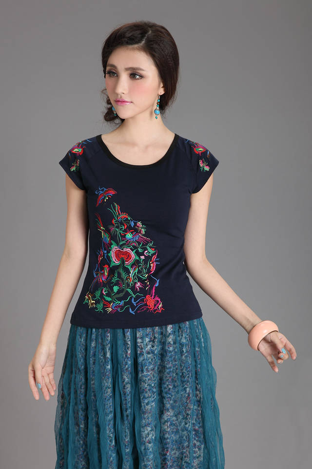 2015 new spring summer fashion women 100% cotton t shirt dark blue floral vintage embroidery girls clothes - Ruby Lu's Chinese style store