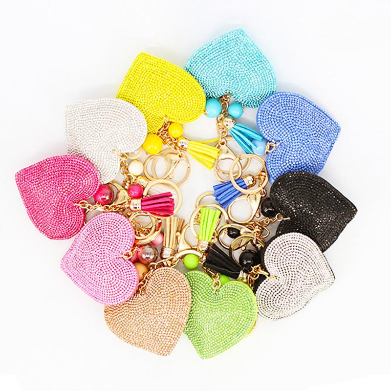 2015 Fashion Jewelry Cute Women Key Chain key Cover Rhinestone Inlaid Leather tassel peach heart Key Cap Gift 10Colors wholesale