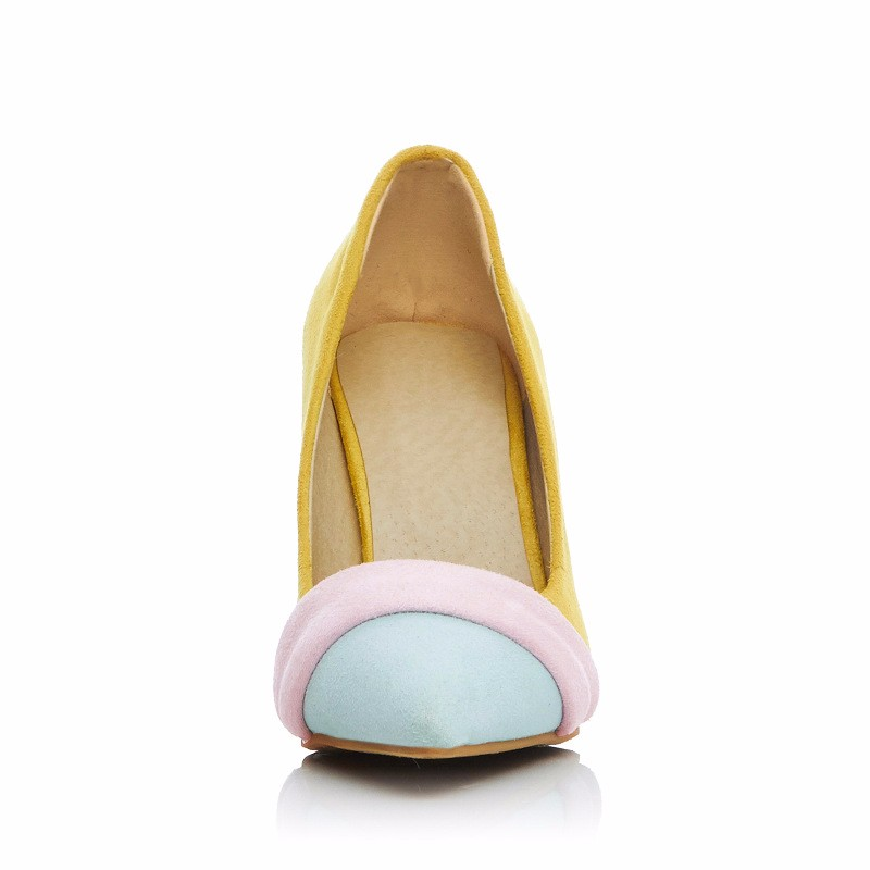 2016 New Plus Size 40-43 High-heeled Pumps Women Shoes Beige Yellow Candy Style Mouth Thin Heel Pointed Toe Shoes For Women Z3.5