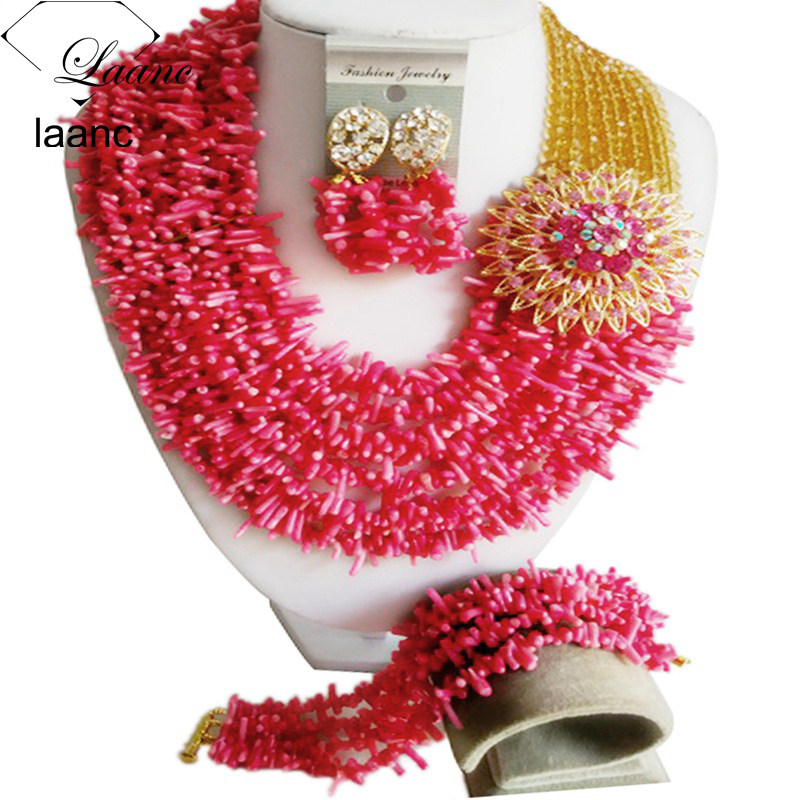 Nigerian Wedding African Coral Beads Jewelry Sets (22)