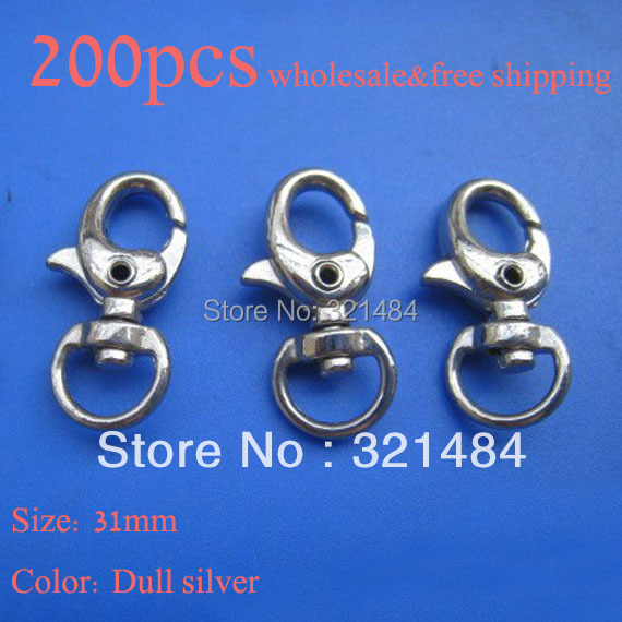 HOT SALE 200pcs 31mm Dull silver plated Swivel lobster claw clasps keychain DIY hooks accessories<br><br>Aliexpress