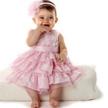 Fashion Summer 2015 Princess Dress Baby Girls Pink Infant Outfit Tutu Bow Dress +Flower Headband kids Children Clothing BZ655574(China (Mainland))
