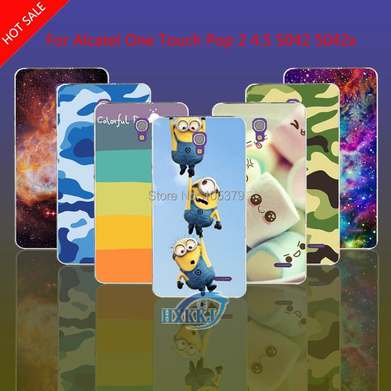 For Alcatel One Touch Pop 2 4.5 5042 5042X 5042D 5042E Case Leopard Galaxy Skull Cat Lotus Flower Rainbow Hard Cell Phone Case(China (Mainland))