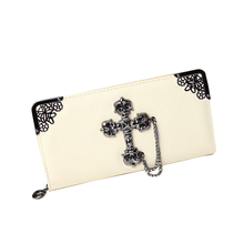 Women Purse Retro Leather Wallet Cross On Front With Tassel 5 Colors Long Flap Purses Fashion Card Holder Gift For Halloween(China (Mainland))