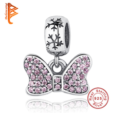 Buy American Hot 925 Sterling Silver Disny Minnie,Pink Clear CZ Charms Fit Original Pandora Bracelet Necklace Pendant DIY Jewelry for $6.22 in AliExpress store