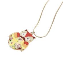 N027 Exquisite Glaze Color Drops Owl pendant Necklaces female Girls Fashion vintage necklaces jewelry wholesale M