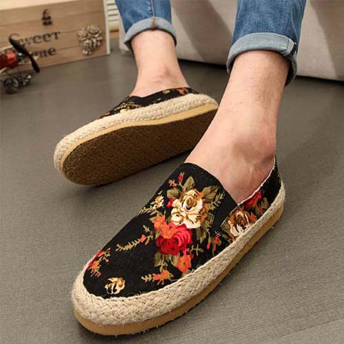 new 2014 fashion floral print men loafers canvas shoes