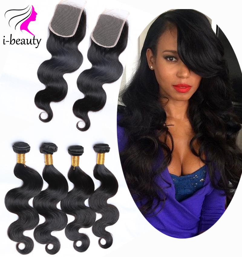 Brazilian Body Wave 4 Bundles with Closure 7A Virgin Hair with Closure Brazilian Virgin Hair Cheap Human Hair with Closure