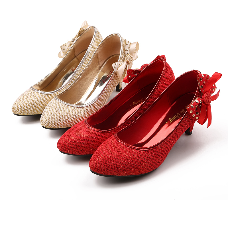 Red Weding Shoes Low Hel 023 - Red Weding Shoes Low Hel