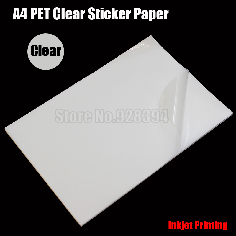 25pcs A4 Clear Transparent PET Film Adhesive Paper Sticker Paper Waterproof Fit Inkjet Printer cip00(China (Mainland))