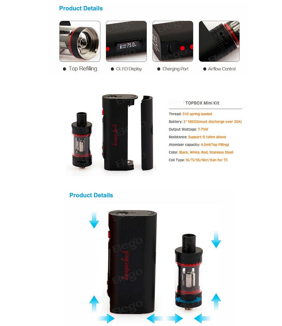 ถูก ต้นฉบับkangertech topboxมินิชุดเริ่มต้นvapeกับtopboxมินิAutomizerอุณหภูมิควบคุมบุหรี่อิเล็กทรอนิกส์