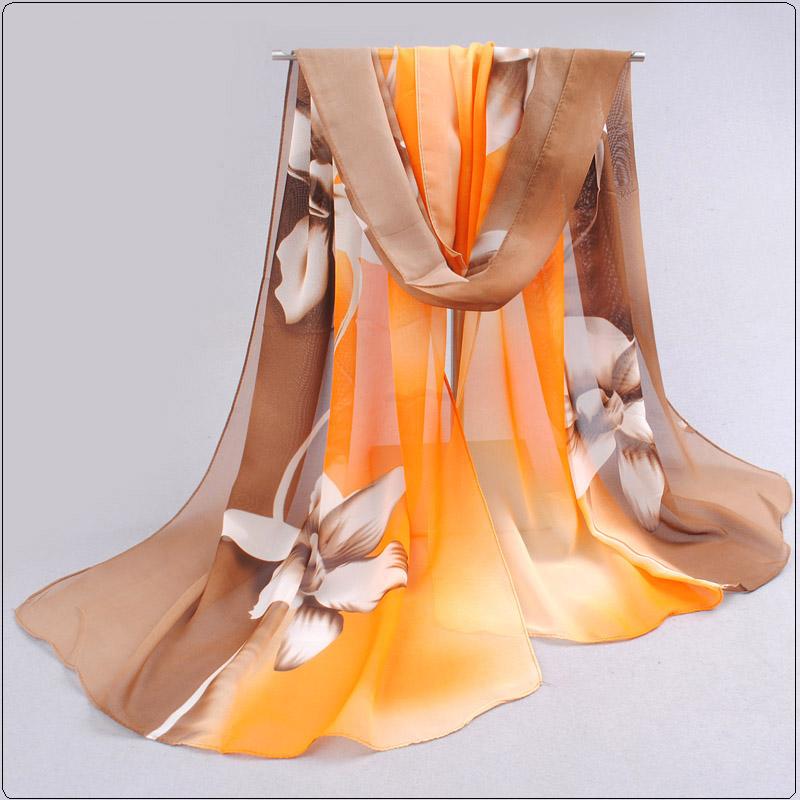 2016 Womens Fashion Silk Scarf Scarves Hijab Sale Promotion Print Flower Shawls Women's Chiffon Silk scarf foulard(China (Mainland))