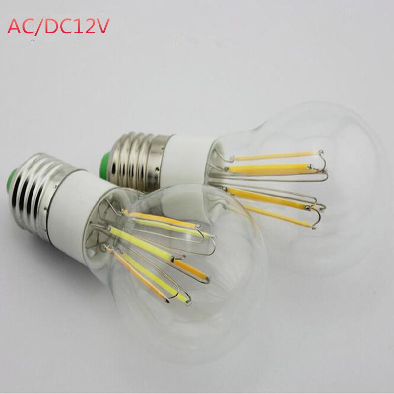 200X AC DC 12V Edison COB Filament Globe Light E27 E26 LED 85-265V 2W 3W 4W 6W LED Bulb Lamp VS 50W 60W 80W Incandescent Bulbs(China (Mainland))