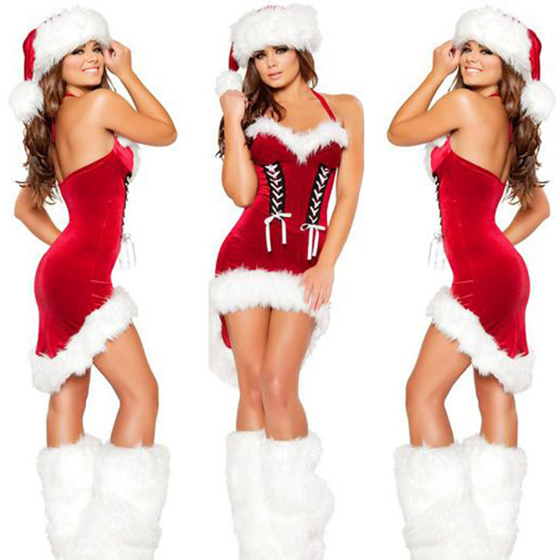 New Style 2016 Dress + Hat Womens Santa Suit Short After Long Neck Hung Before Christmas Role Playing Game Uniform(China (Mainland))