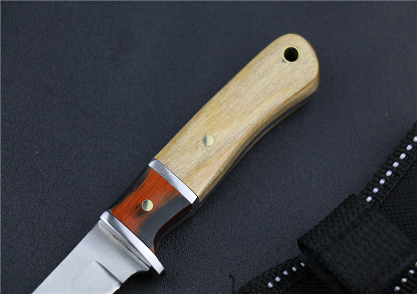 Buy 5Cr13Mov stainless steel wood handle 6.3 inch straight knife outdoor camping survival hunting ganzo edc navajas tactical knives cheap