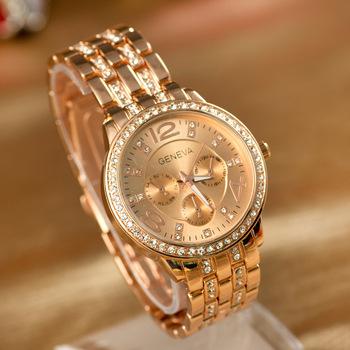 Мужские наручные кварцевые часы Geneva, из нержавеющей стали, со стразами