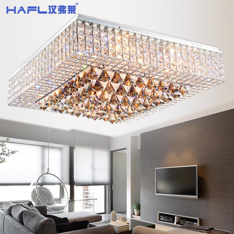 modern simple square living room crystal lamp led ceiling. Black Bedroom Furniture Sets. Home Design Ideas