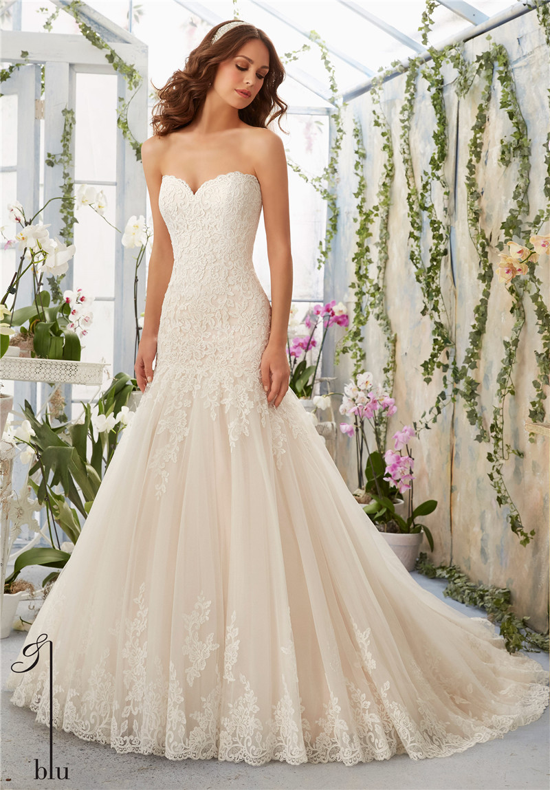 Romantic lace wedding dress 2016 sweetheart sleeveless for Where to sale wedding dresses