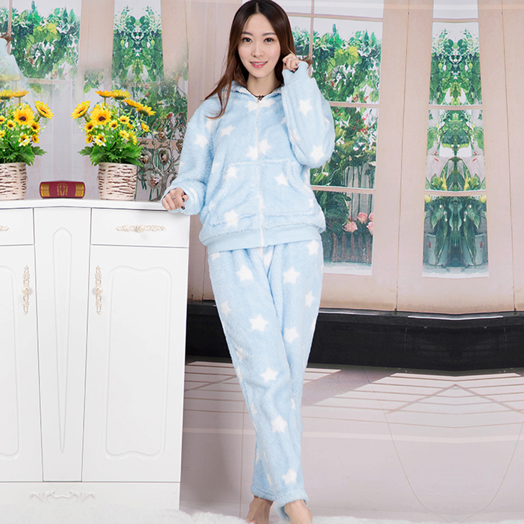 Women New Fashion Star Print Long Sleeve Winter Sleep Lounge Hooded Super Soft Coral Fleece Pajama Sets Free Shipping(China (Mainland))