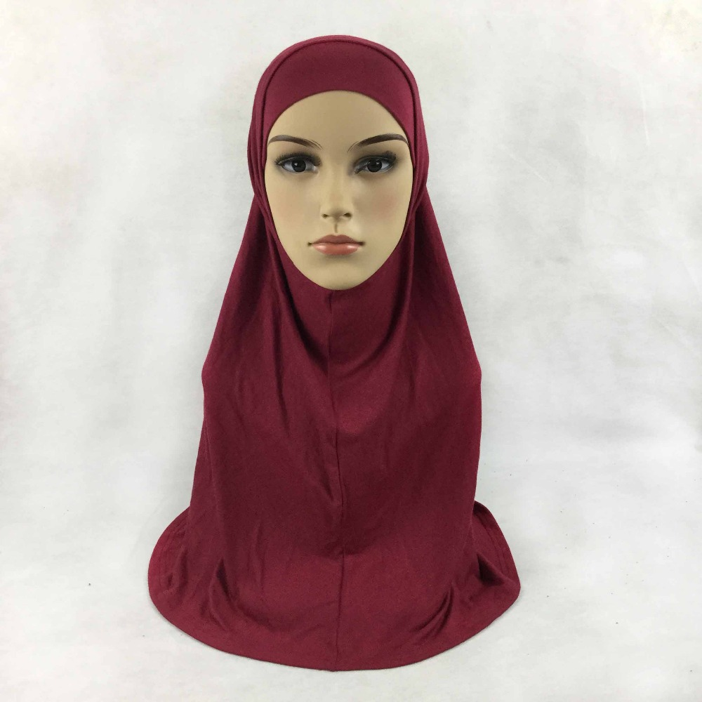 Plain cotton jersey 2 Piece Amira Hijab Muslim Scarf Aribian Wrap Scarves Most Popular Shawls, 22 colors, Free Shipping,2pc001(China (Mainland))