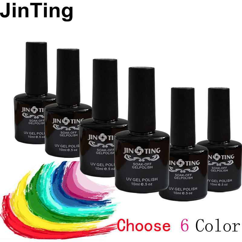 JinTing 10ml Nail Polish ( color gel 6 bottle )120Color Gel Lacquer UV Lamp or LED lamp Nail Varnish