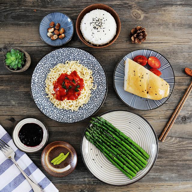 Японский стиль ретро керамические пластины утолщение диск миски Риса Суши Круглой пластины ложка Стейк плиты ресторан посуда
