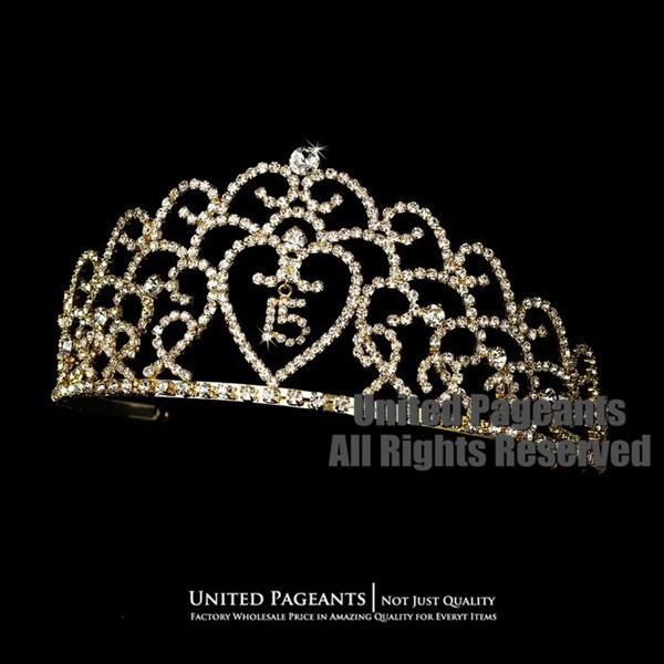 2015 Gold Quinceanera Crown Pageant Birthday Tiara Golden Bridal Crowns UC279(China (Mainland))