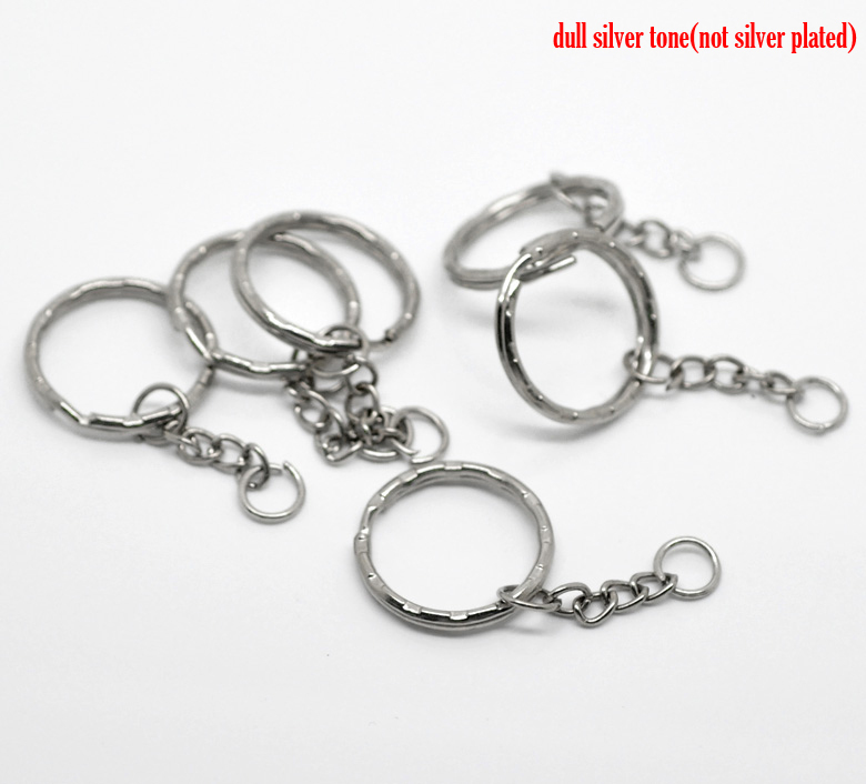 "30PCs Silver Tone Key Chains & Key Rings 53mm(2 1/8"") long (B19405), yiwu(China (Mainland))"