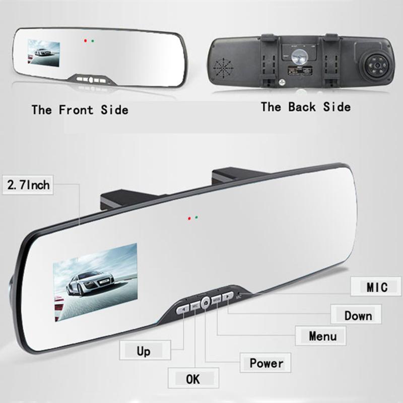 1080P Full HD 2.7Inch Car Rearview Mirror dashcam DVRS Car Camera rear mirror Parking Night Vision carro coches Video Recorder<br><br>Aliexpress